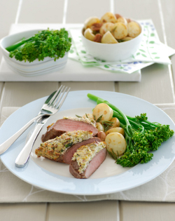Lamb backstrap with pistachio & brazil nut crust